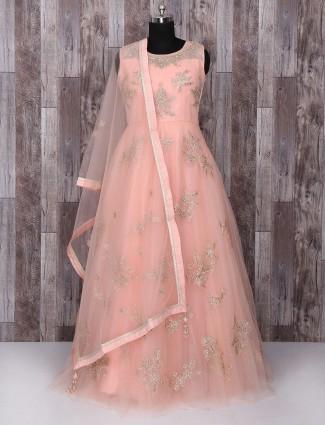 Pink color net wedding anarkali suit