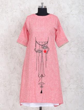 Pink color party wear cotton kurti