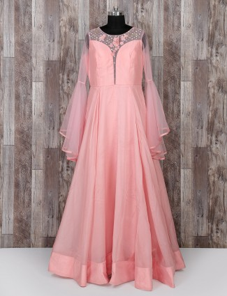 Pink color party wear gown