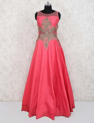 Pink color pretty gown in satin