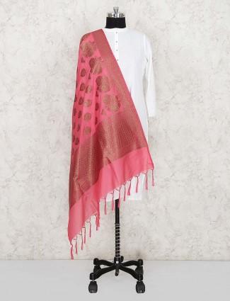 Pink color pretty silk fabric dupatta