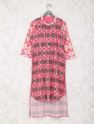 Pink color printed cotton kurti