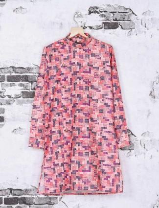 Pink color printed kurta suit