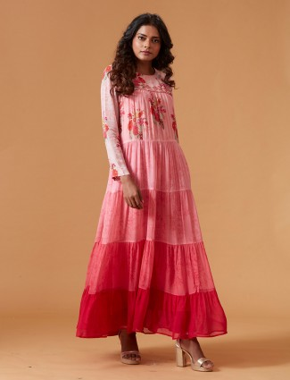 Pink color pure georgette long kurti