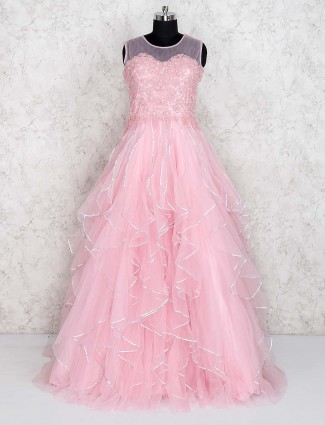 Pink color ruffle gown in net