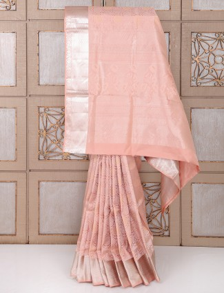 Pink color silk festivewear saree