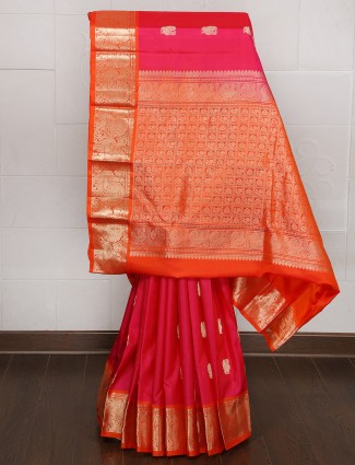 Pink color silk kanjivaram silk saree