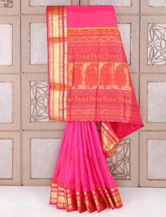 Pink color silk saree for wedding wear