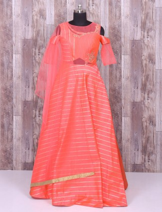 Pink color silk simple anarkali suit