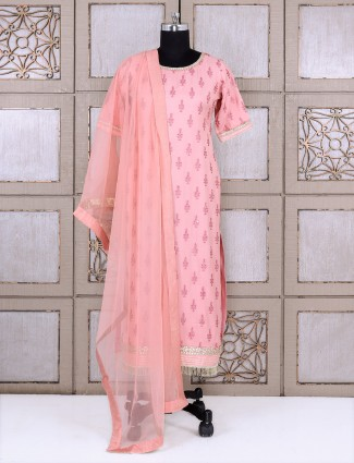 Pink color silk simple palazzo suit