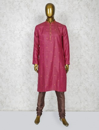 Pink color thread weaving kurta suit for festive
