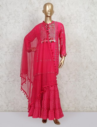 Pink colour sharara suit for wedding and festive session