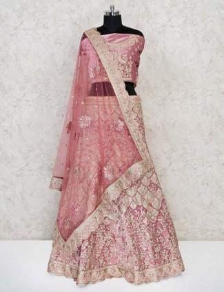 Pink colour velvet lehenga choli