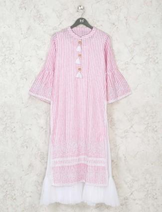 Pink cotton casual long kurti in stripe