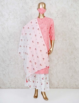 Pink cotton casual punjabi sharara suit