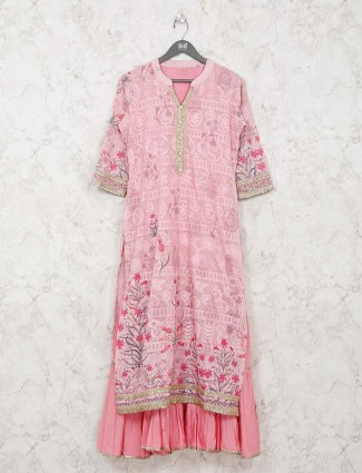 Pink cotton double layer style kurti in printed
