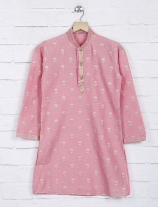 Pink cotton fabric festive kurta suit