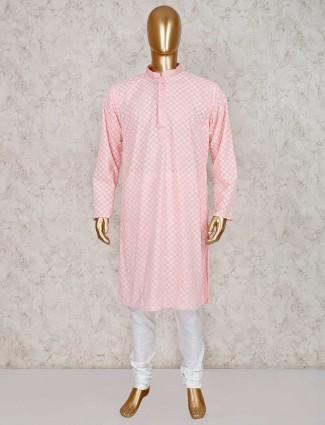 Pink cotton kurta with churidar