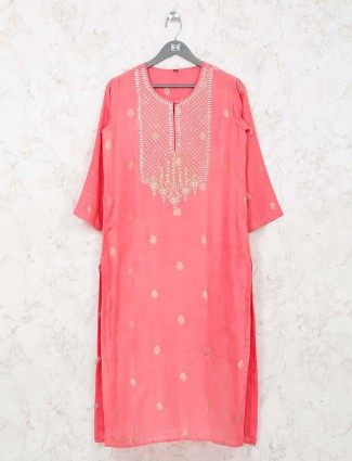 Pink cotton kurti in cotton