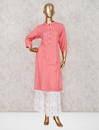 Pink cotton punjabi sharara set