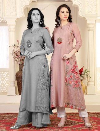 Pink cotton silk festive long kurti tunic