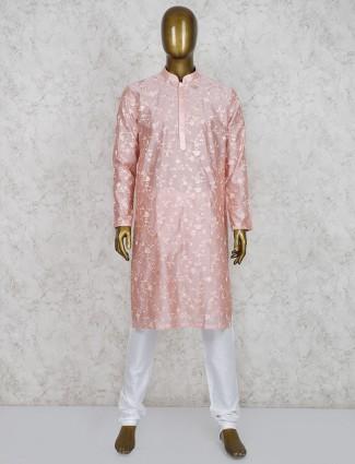 Pink cotton silk full sleeves kurta suit