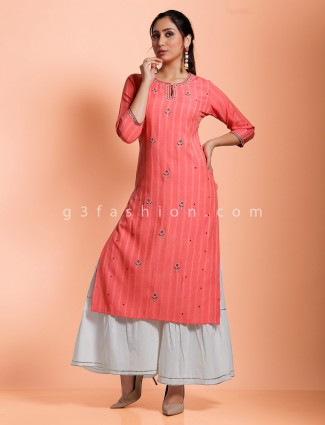 Pink cotton stripe design punjabi sharara set