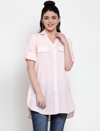 Pink cotton stripe long shirt  top