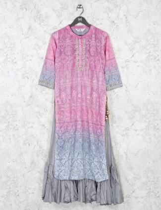 Pink cotton thread work kurti