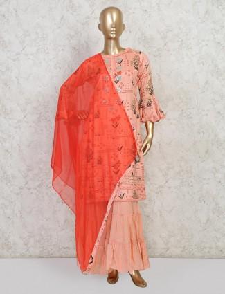Pink cotton wedding wear sharara suit