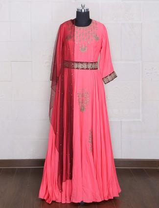Pink designer silk anarkali suit