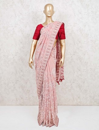 Pink georgette designer wedding reception saree