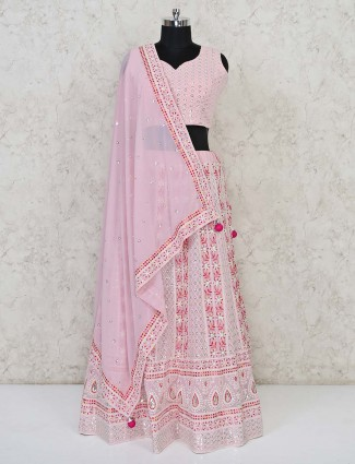 Pink georgette lehenga choli for wedding days