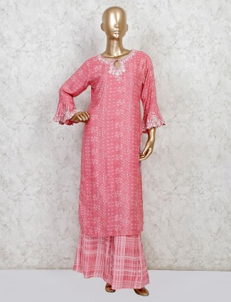 Pink georgette party wear palazzo salwar suit