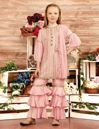 Pink georgette pretty sharara suit