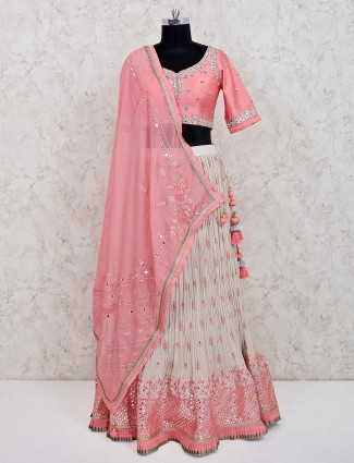 Pink georgette wedding special lehenga choli