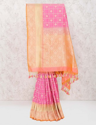 Pink hue beautiful banarasi semi silk saree