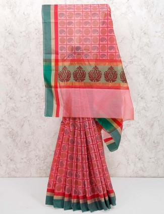 Pink hue checks super net cotton festive saree