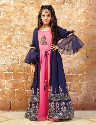 Pink hue cotton silk anarkali salwar suit in jacket style