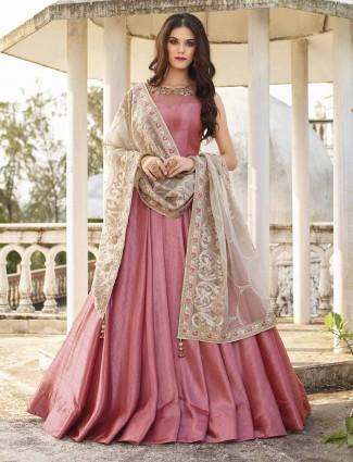 Pink hue cotton silk anarkali suit