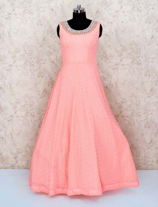 Pink hue cotton silk floor length gown