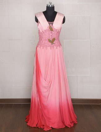 Pink hue designer georgette wedding wear gown