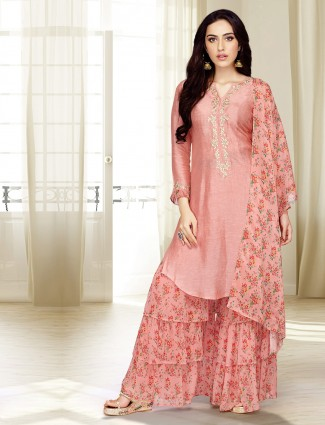 Pink hue festive cotton silk punjabi sharara suit