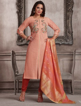 Pink hue pretty cotton festive punjabi salwar suit