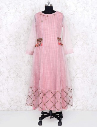 Pink hue pretty festive cotton fabric double layer salwar suit