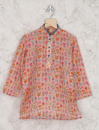 Pink hue printed boys kurta suit