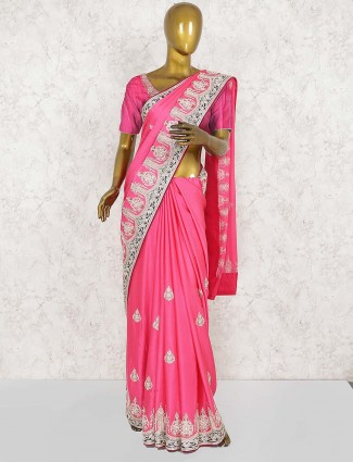 Pink hue pure silk wedding pretty saree