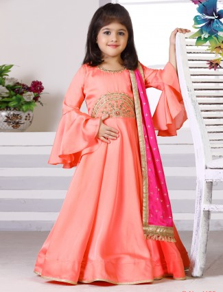 Pink hue raw silk fabric anarkali suit