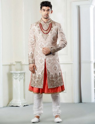 Pink hue raw silk fabric wedding function sherwani