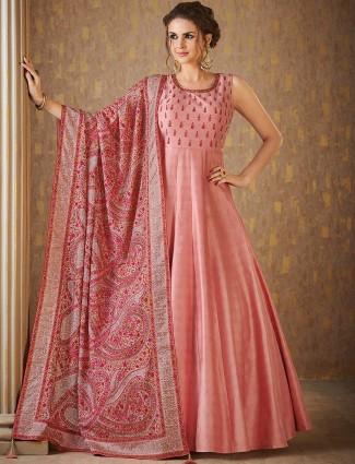 Pink hue raw silk floor length anarkali suit